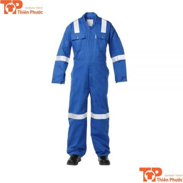 bộ quần áo bảo hộ lao động liền quần xanh dương