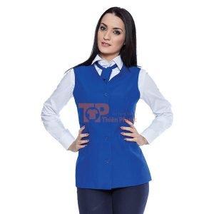 đồng phục bán hàng đơn giản màu xanh