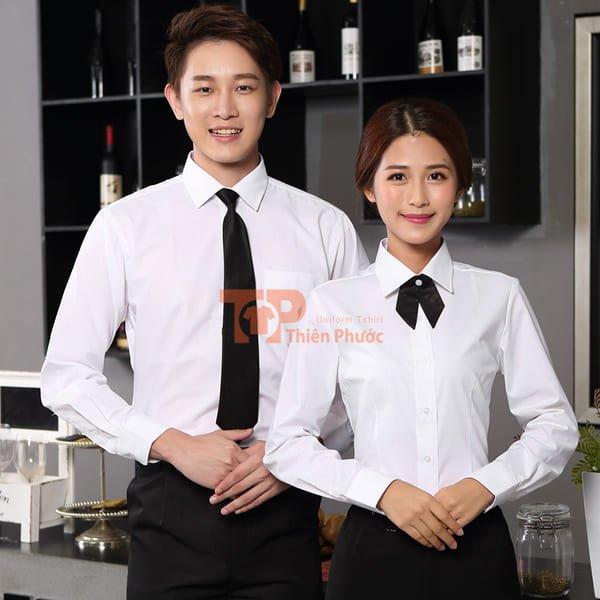 đồng phục bán hàng sơ mi tay dài màu trắng