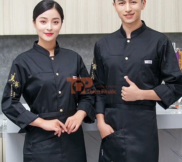 đồng phục bán hàng tay dài màu đen bóng