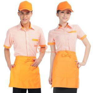đồng phục cho nhân viên bán hàng kiểu caro màu cam