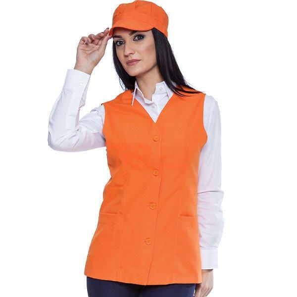 đồng phục cho nhân viên bán hàng màu cam đơn giản