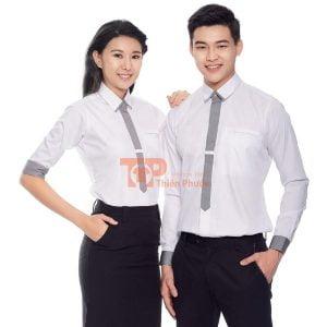 đồng phục cho nhân viên bán hàng sơ mi trắng tinh tế