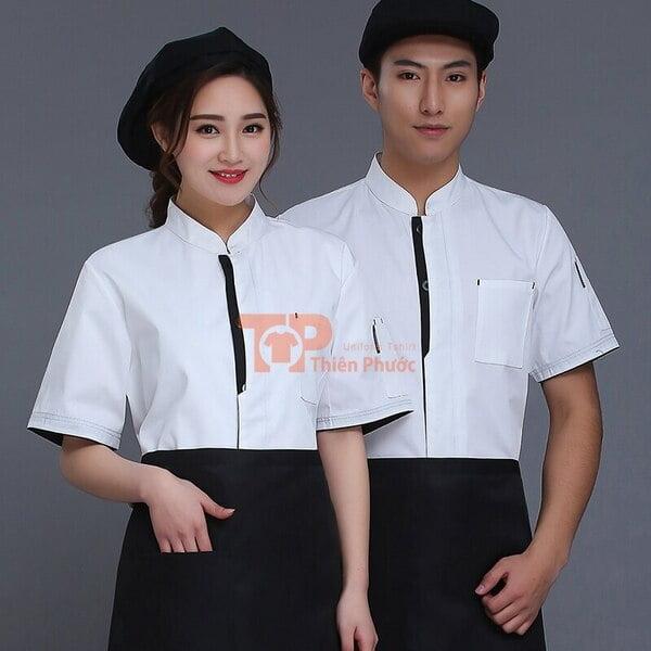 đồng phục nhân viên bán hàng kiểu sơ mi màu trắng có mũ