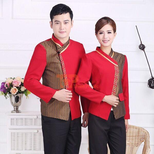 đồng phục nhân viên bán hàng kiểu tân thời màu đỏ