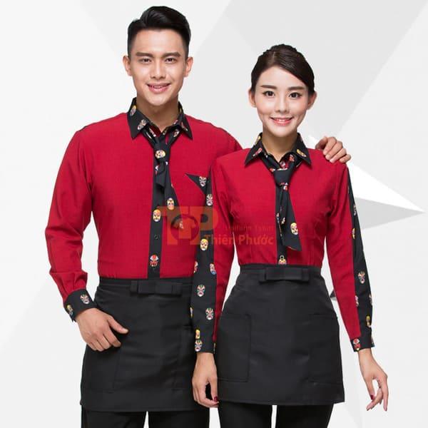 đồng phục nhân viên bán hàng màu đỏ có cà vạt