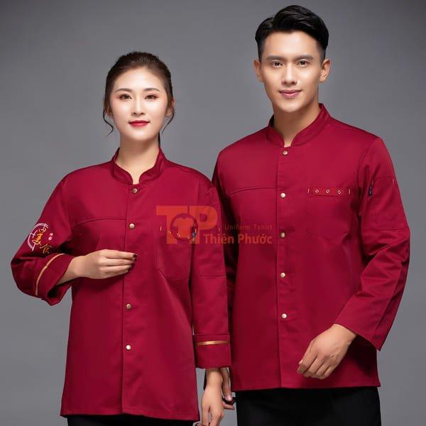 đồng phục nhân viên bán hàng màu đỏ cổ chữ V