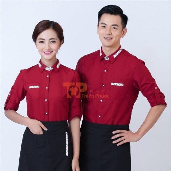 đồng phục nhân viên bán hàng màu đỏ cổ sơ mi