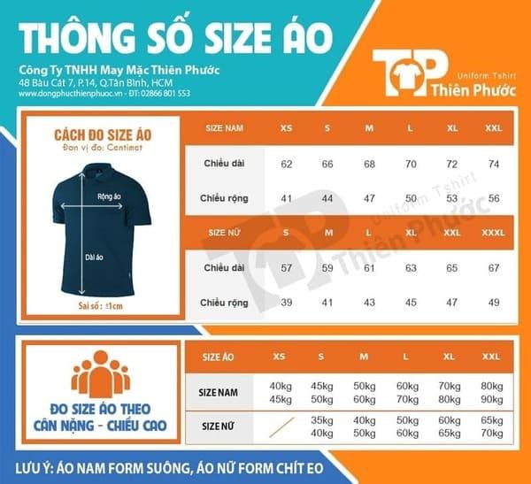 kích cỡ chuẩn đồng phục bán hàng