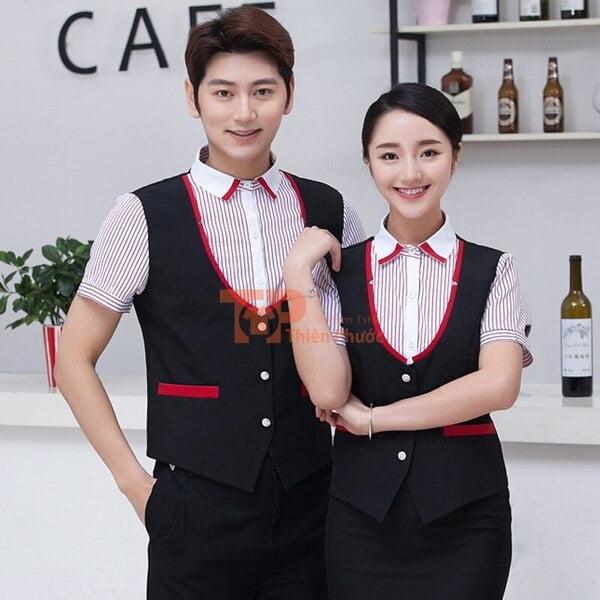mẫu đồng phục nhân viên bán hàng màu đen viền đỏ