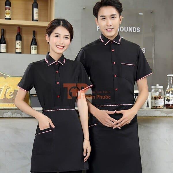 mẫu đồng phục nhân viên bán hàng màu đen viền sọc