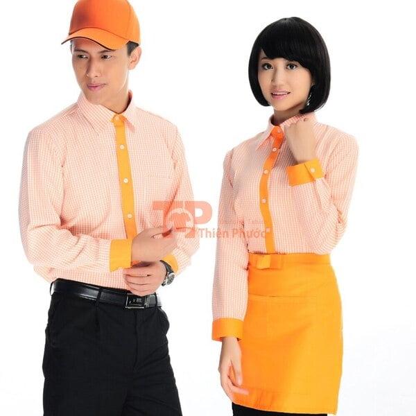 mẫu đồng phục nhân viên bán hàng tay dài màu cam