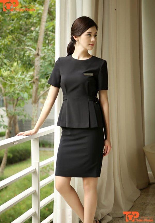 váy đồng phục spa màu đen