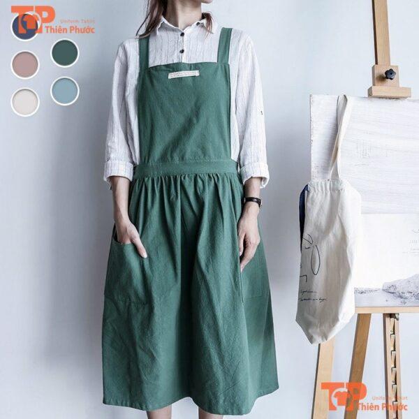 tạp dề vải canvas cotton dành cho nữ