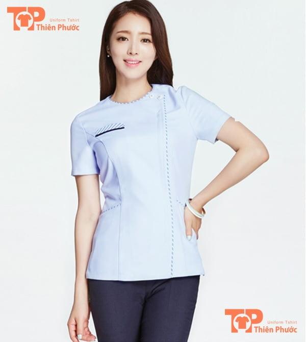 áo đồng phục giáo viên mầm non màu xanh da trời